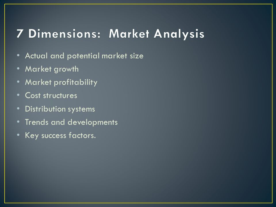 7 Dimensions: Market Analysis