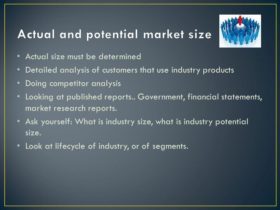 Actual and potential market size