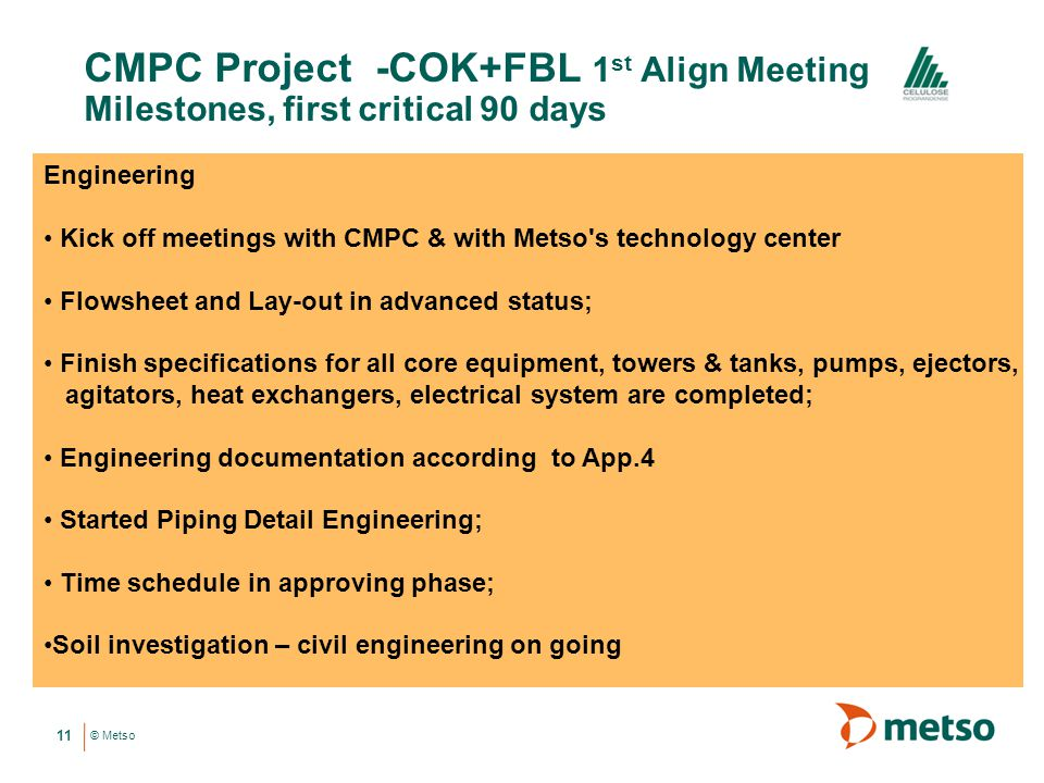 CMPC Project -COK+FBL 1st Align Meeting Milestones, first critical 90 days