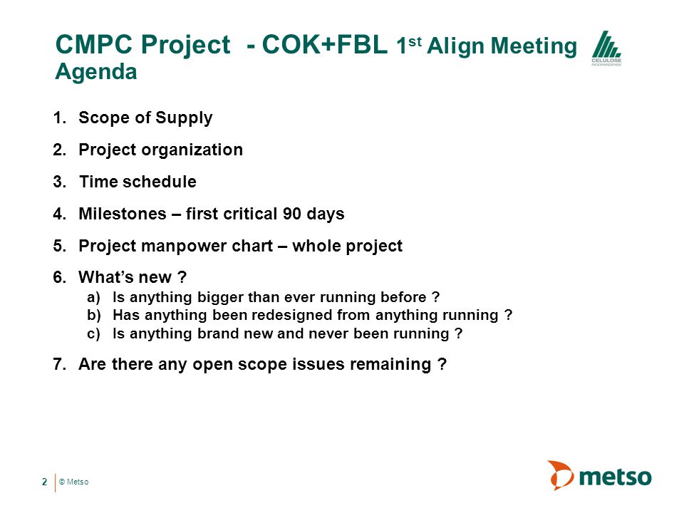CMPC Project - COK+FBL 1st Align Meeting Agenda