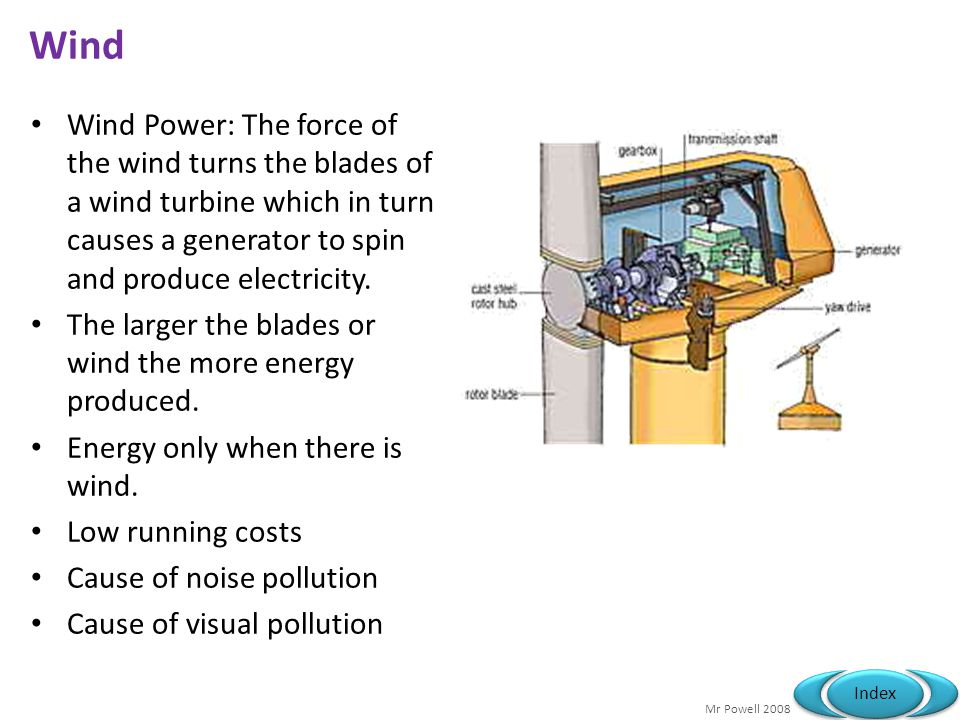 Wind Wind Power: The force of the wind turns the blades of a wind turbine which in turn causes a generator to spin and produce electricity.