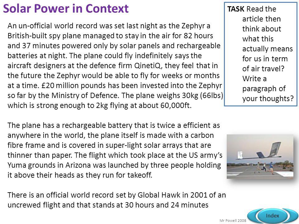 Solar Power in Context