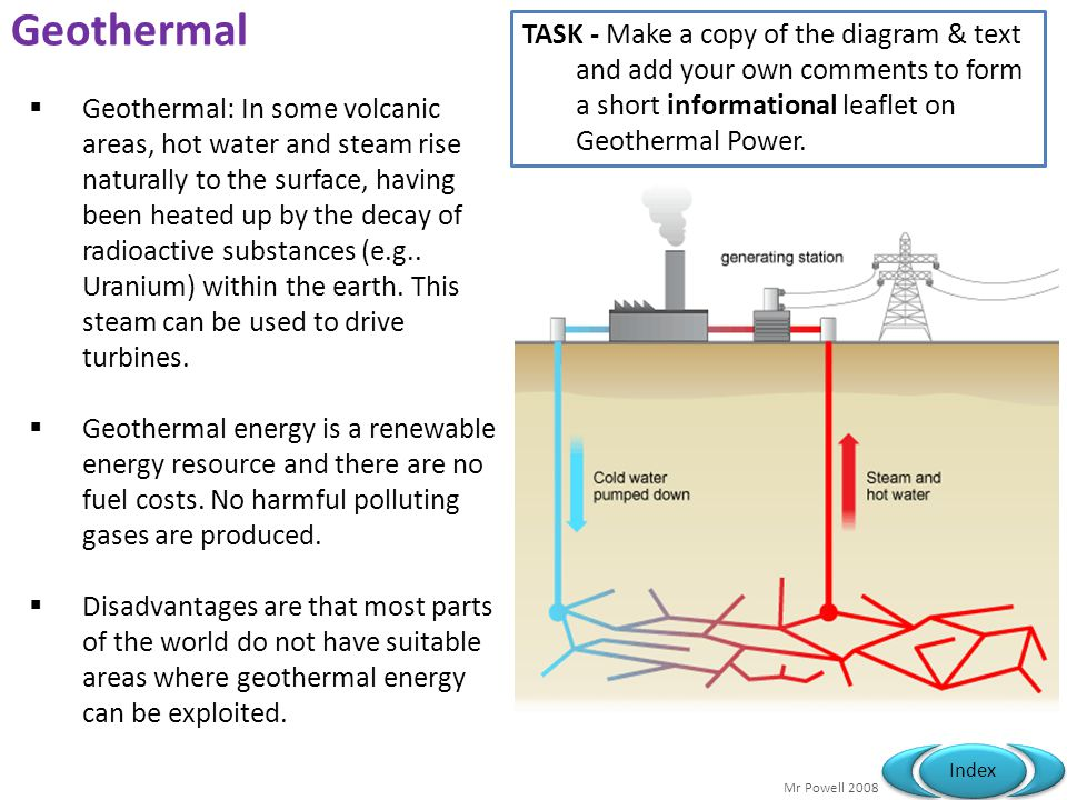 Geothermal TASK - Make a copy of the diagram & text and add your own comments to form a short informational leaflet on Geothermal Power.