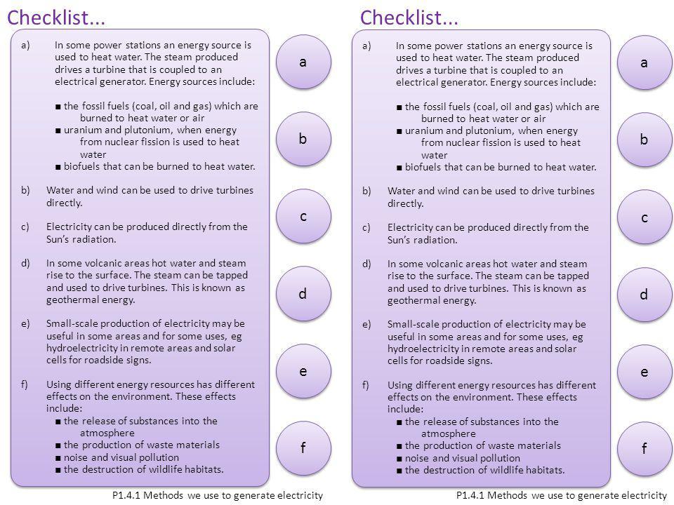 Checklist... Checklist... a a b b c c d d e e f f