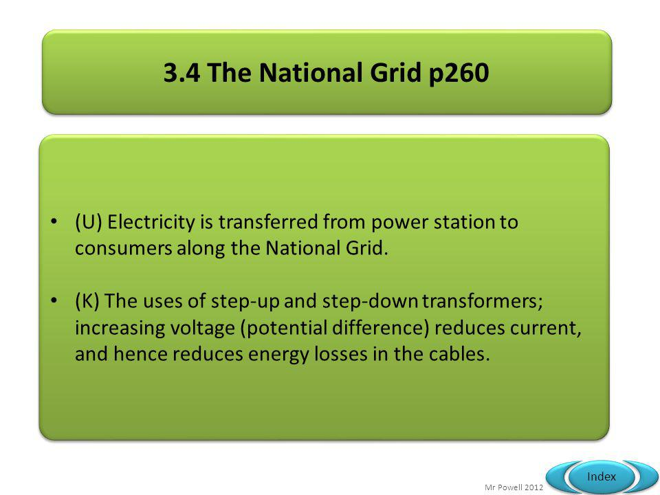 3.4 The National Grid p260 (U) Electricity is transferred from power station to consumers along the National Grid.
