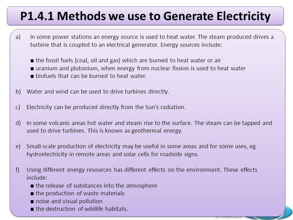 P1.4.1 Methods we use to Generate Electricity