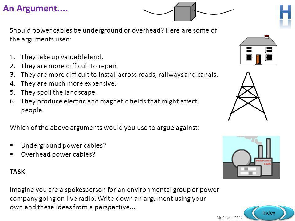 H An Argument.... Should power cables be underground or overhead Here are some of the arguments used: