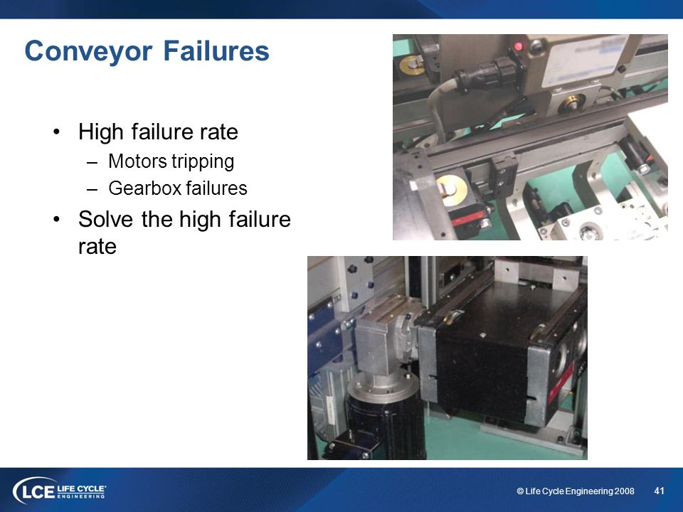 Conveyor Failures High failure rate Solve the high failure rate