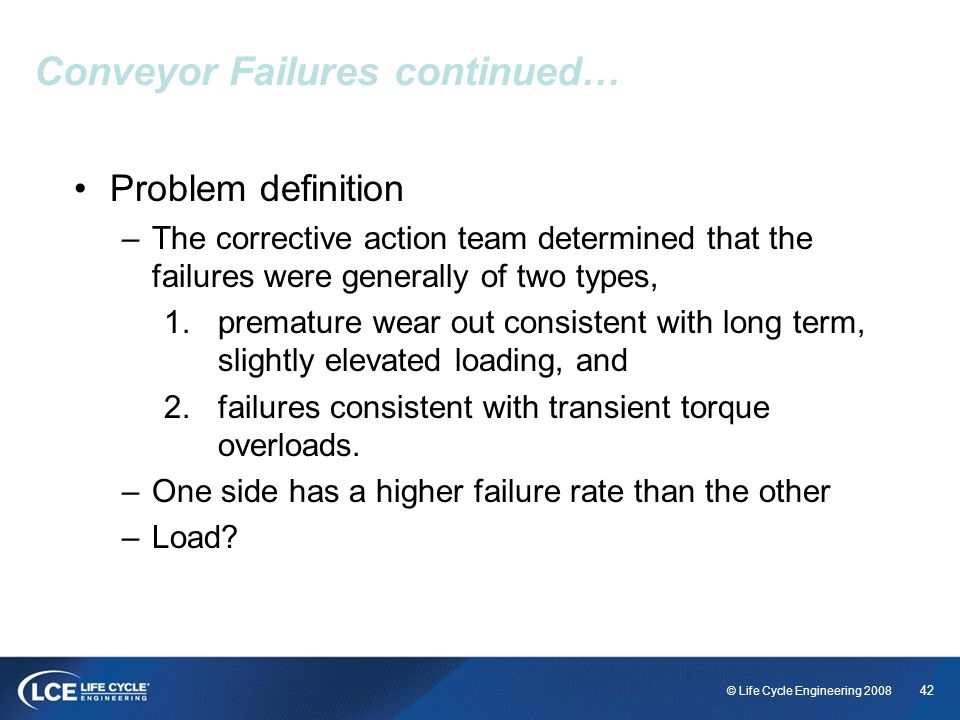 Conveyor Failures continued…