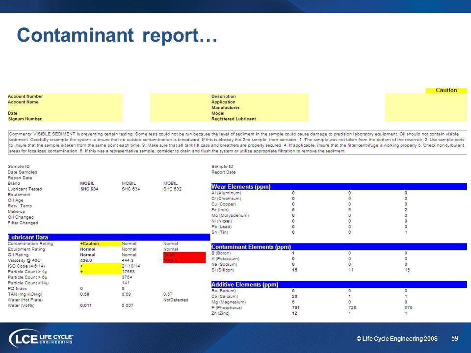 Contaminant report…