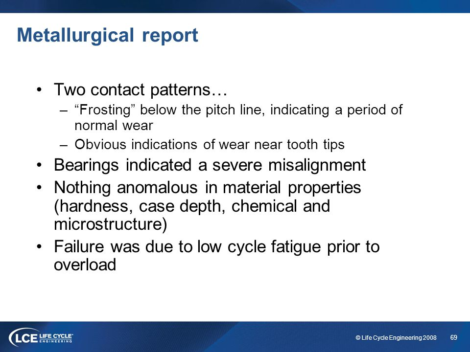 Metallurgical report Two contact patterns…