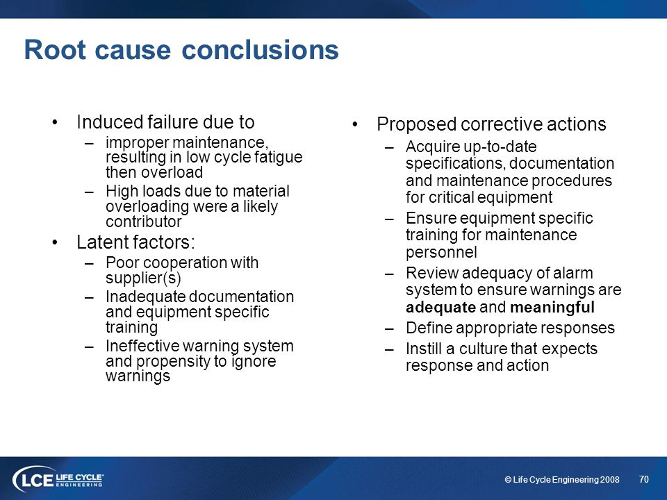 Root cause conclusions