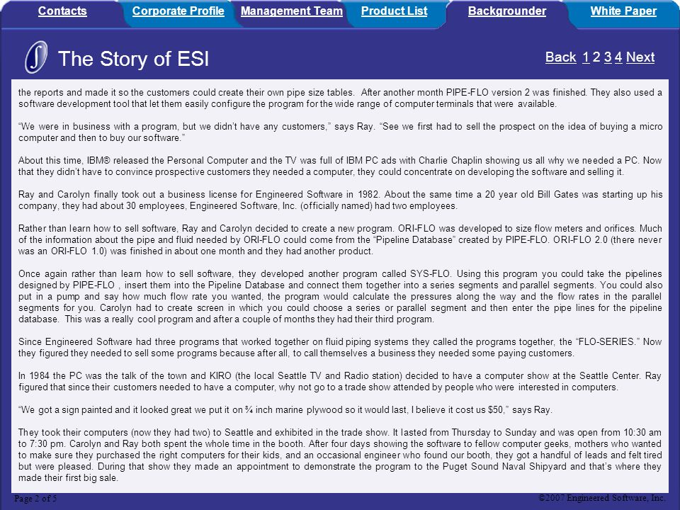 The Story of ESI Back 1 2 3 4 Next Contacts Corporate Profile
