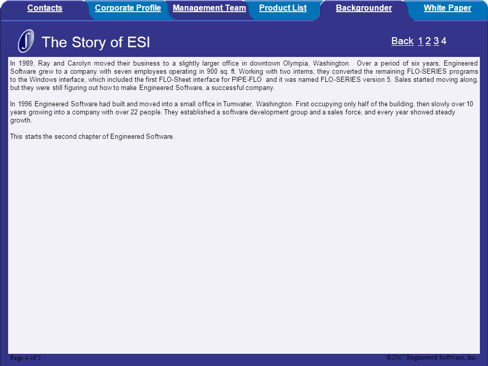 The Story of ESI Back 1 2 3 4 Contacts Corporate Profile