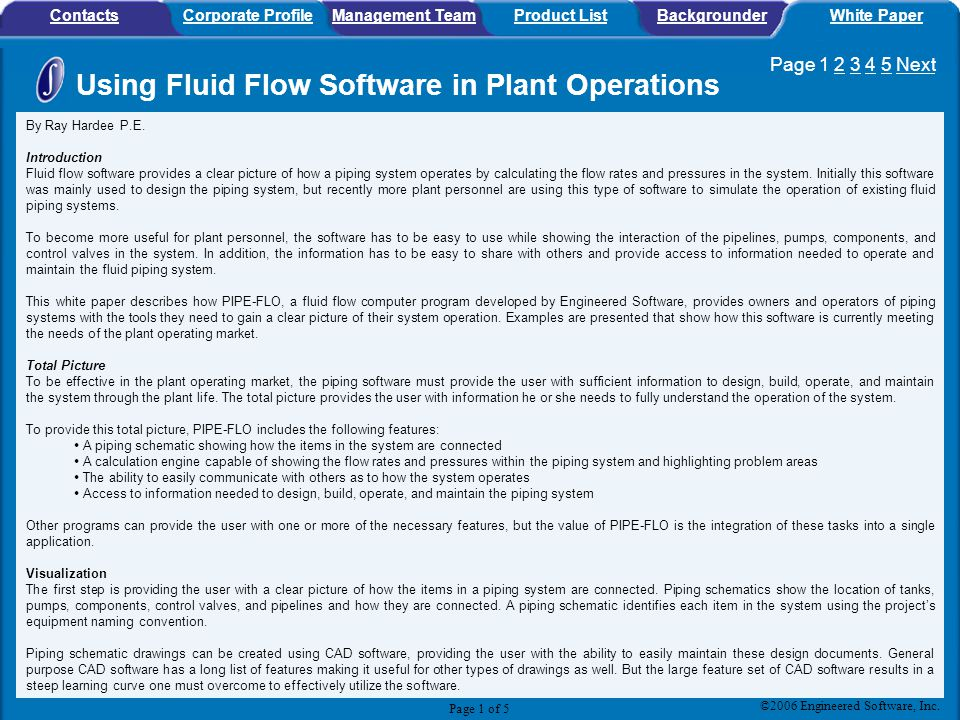Using Fluid Flow Software in Plant Operations