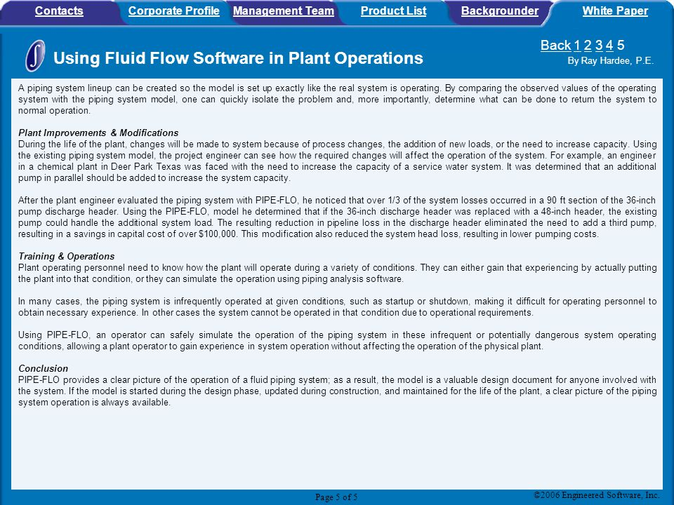 Using Fluid Flow Software in Plant Operations By Ray Hardee, P.E.
