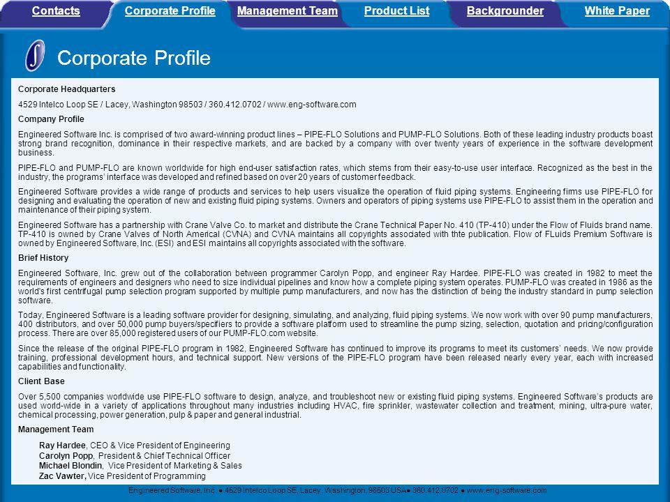 Corporate Profile Contacts Corporate Profile Management Team