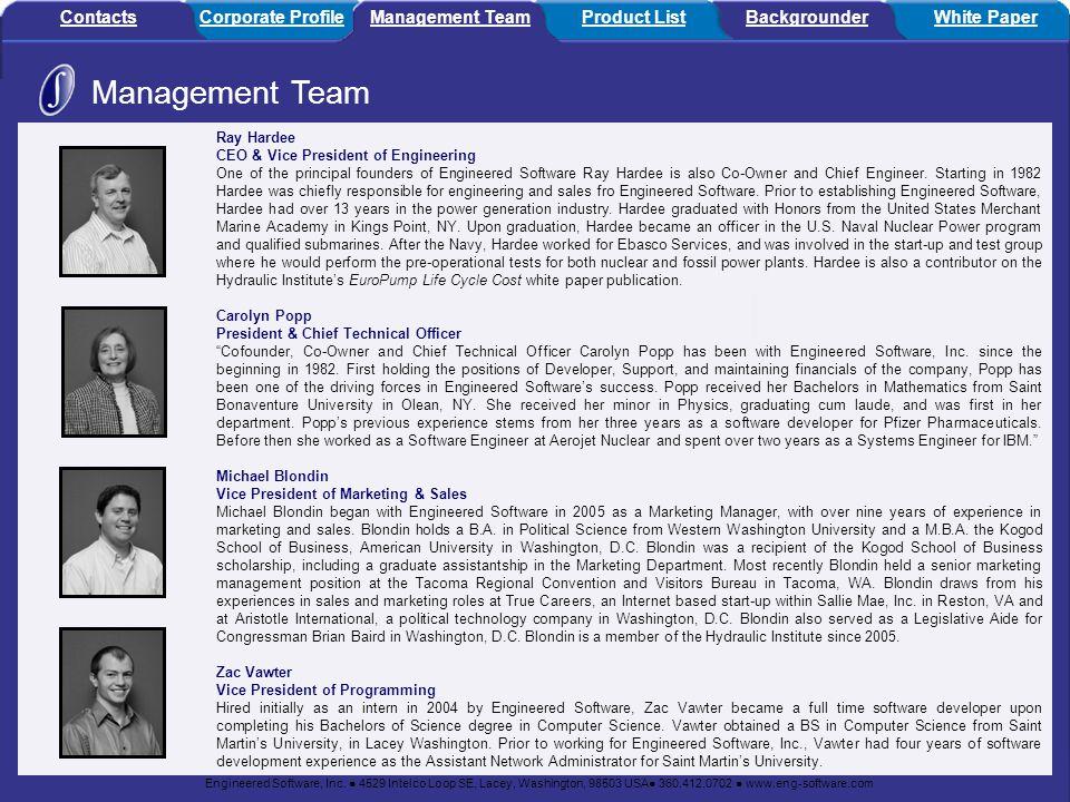 Management Team Contacts Corporate Profile Management Team