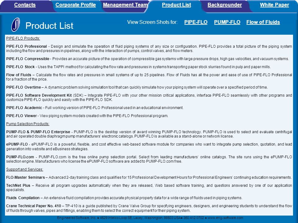 Product List Contacts Corporate Profile Management Team Product List