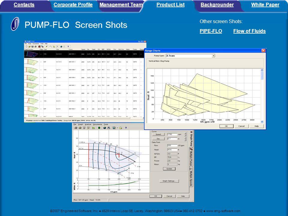 PUMP-FLO Screen Shots Contacts Corporate Profile Management Team