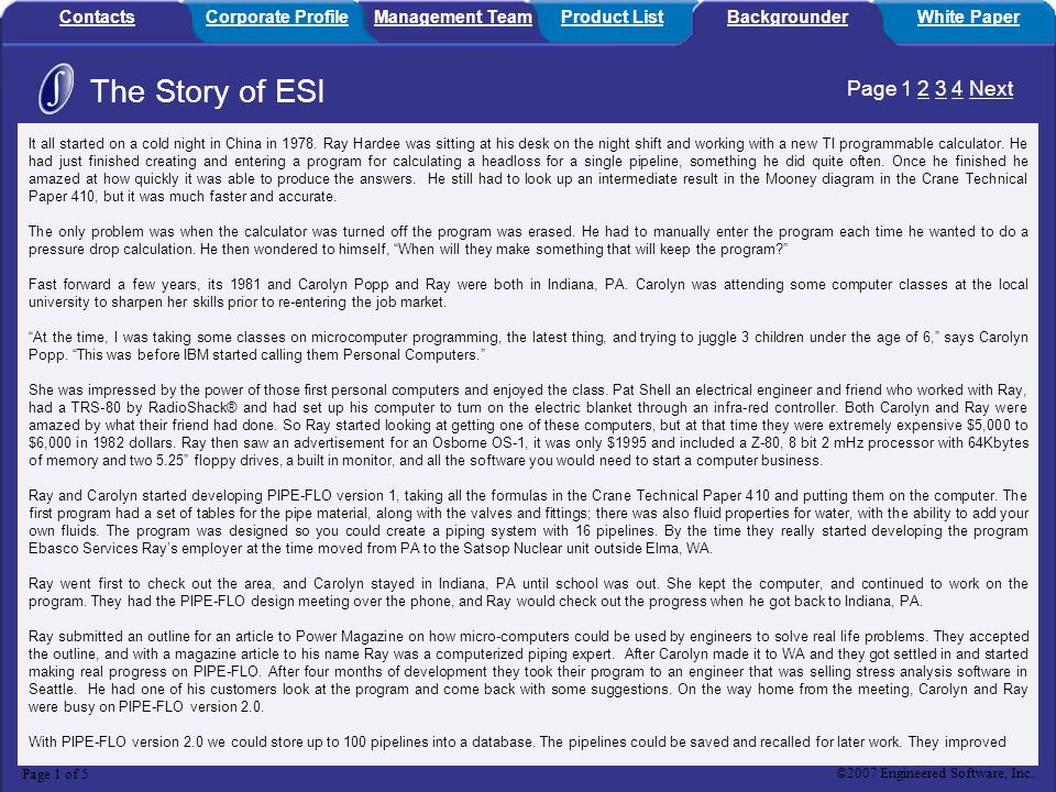 The Story of ESI Page 1 2 3 4 Next Contacts Corporate Profile