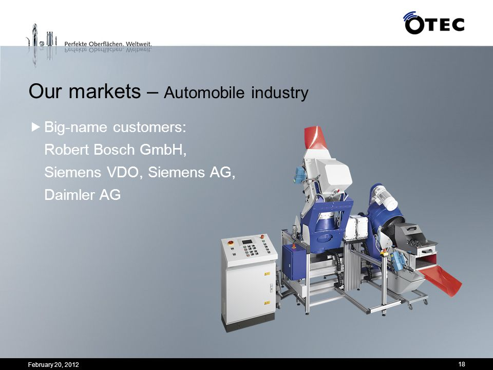 Our markets – Automobile industry