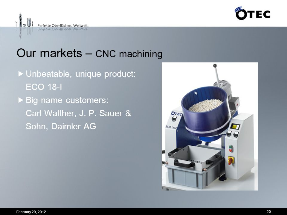 Our markets – CNC machining