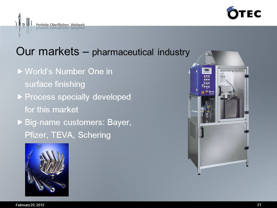 Our markets – pharmaceutical industry