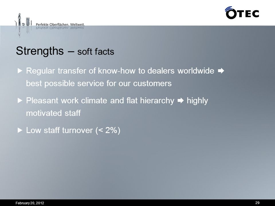 Strengths – soft facts Regular transfer of know-how to dealers worldwide  best possible service for our customers.