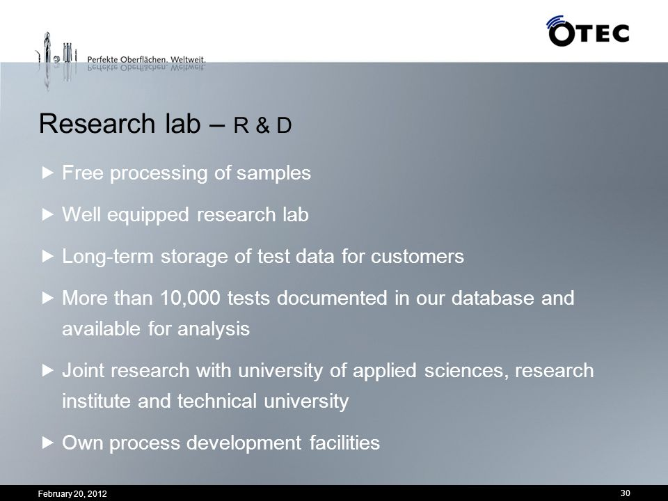 Research lab – R & D Free processing of samples