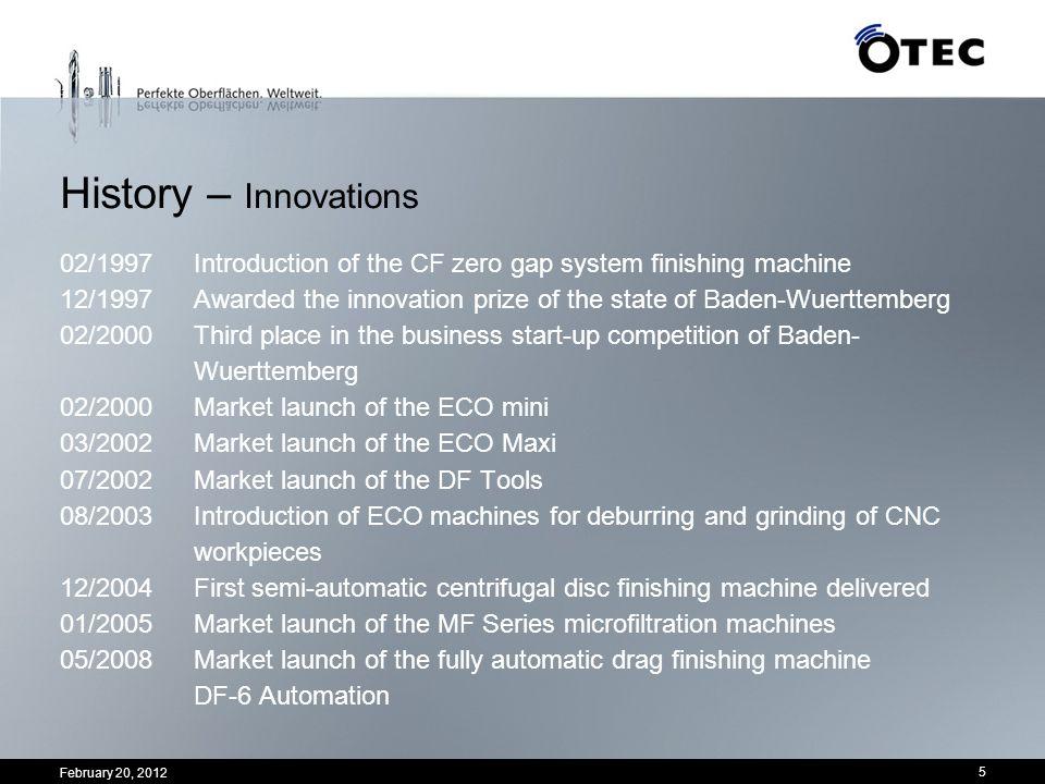 History – Innovations 02/1997 Introduction of the CF zero gap system finishing machine.