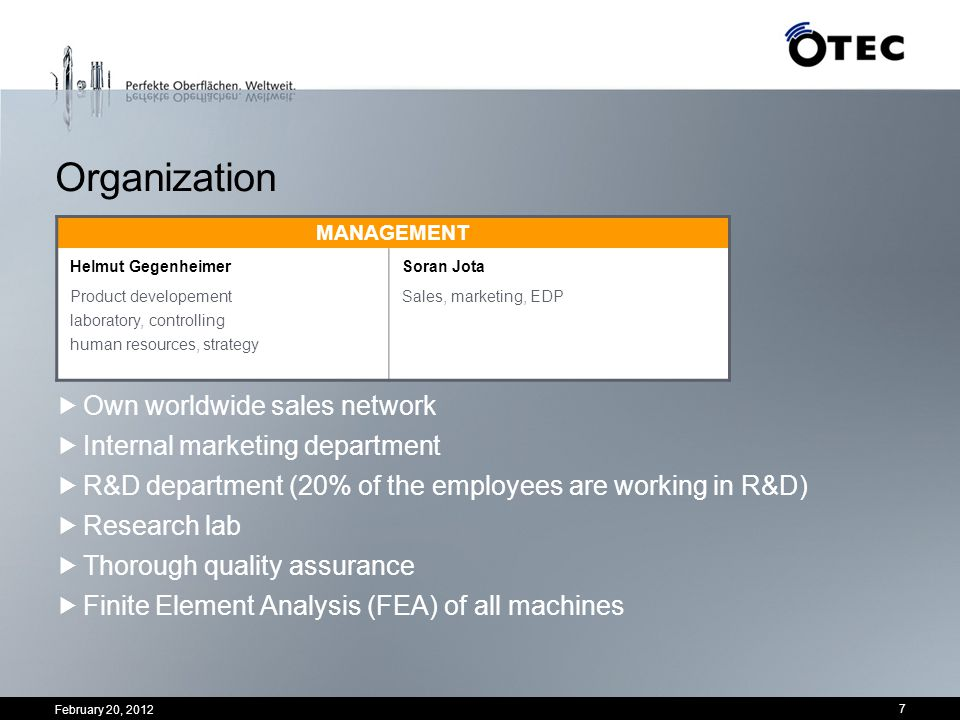 Organization Own worldwide sales network Internal marketing department