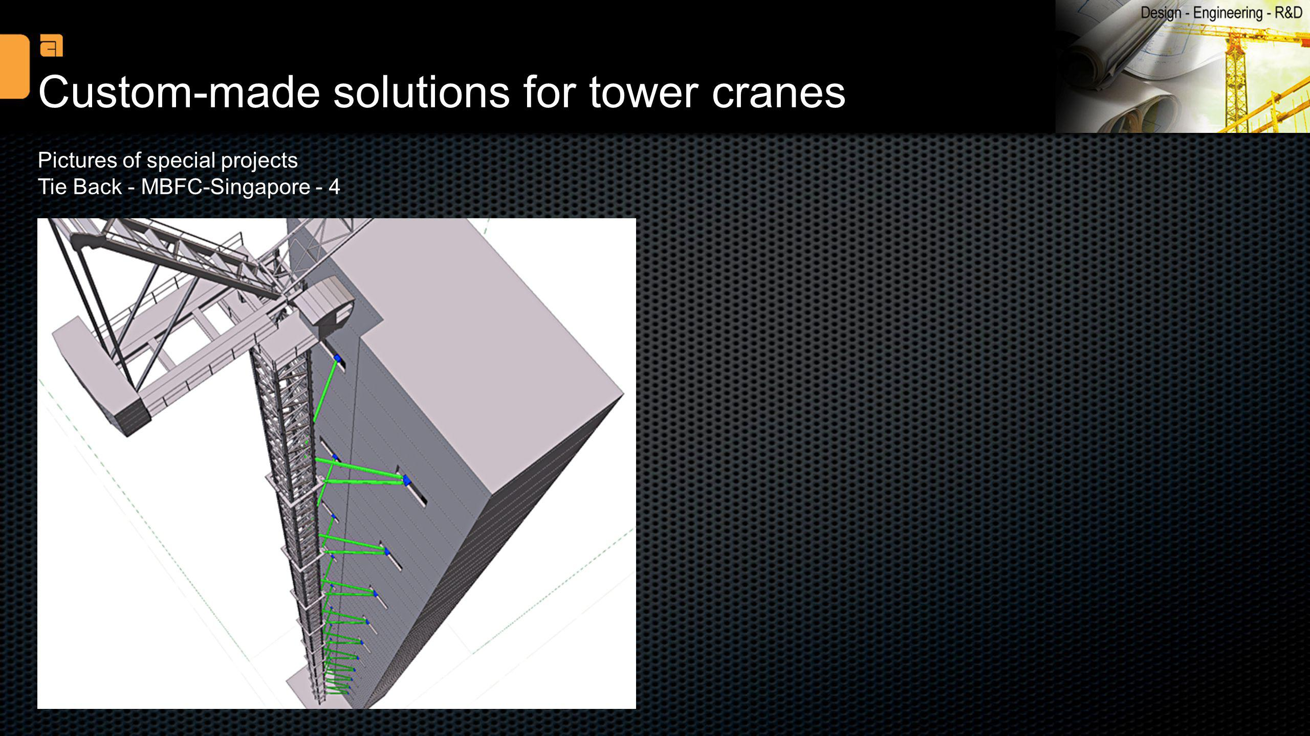 Custom-made solutions for tower cranes