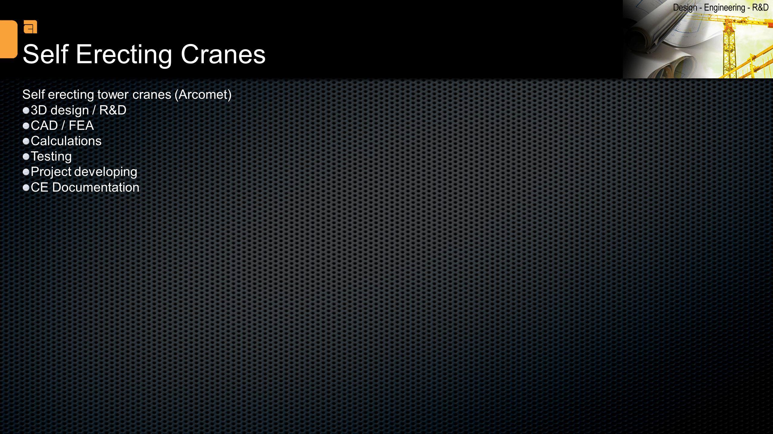Self Erecting Cranes Self erecting tower cranes (Arcomet)