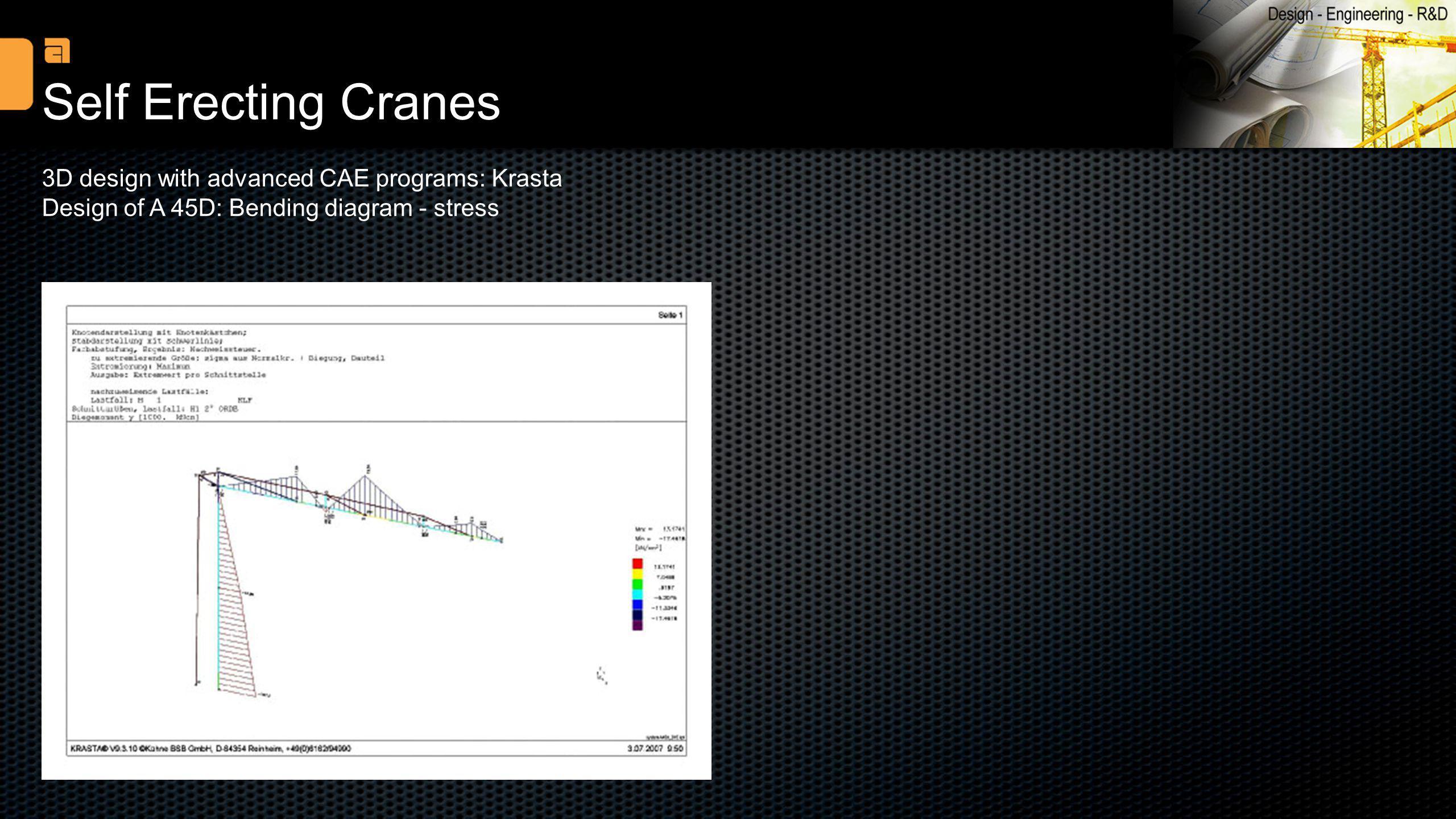 Self Erecting Cranes 3D design with advanced CAE programs: Krasta