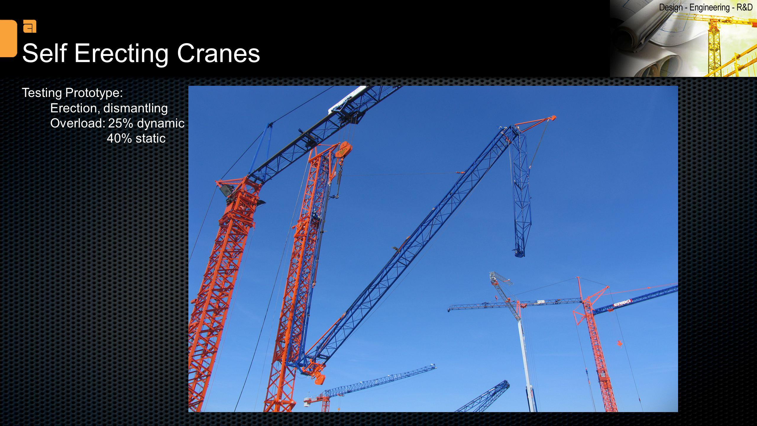 Self Erecting Cranes Testing Prototype: Erection, dismantling