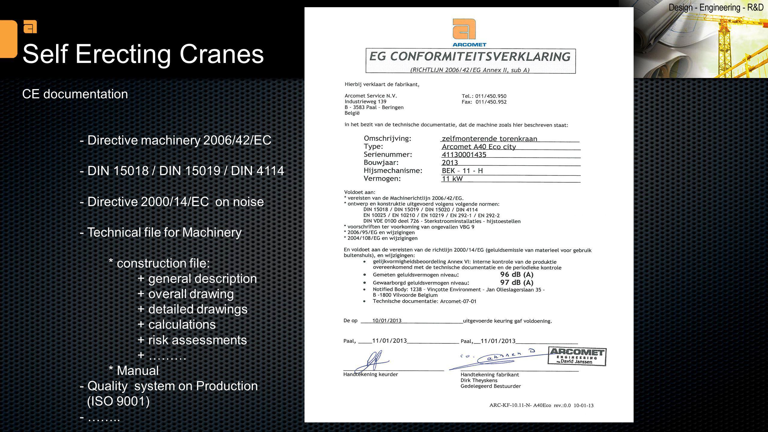 Self Erecting Cranes CE documentation - Directive machinery 2006/42/EC