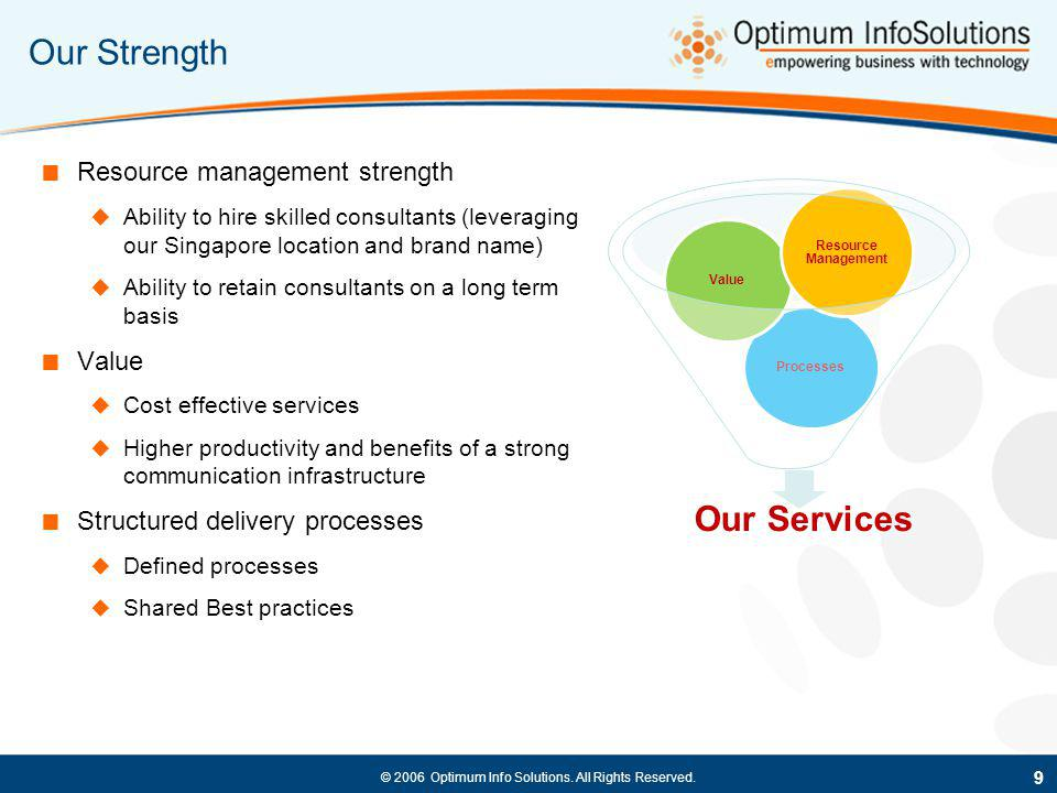 Our Strength Our Services Resource management strength Value