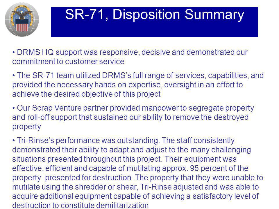 SR-71, Disposition Summary