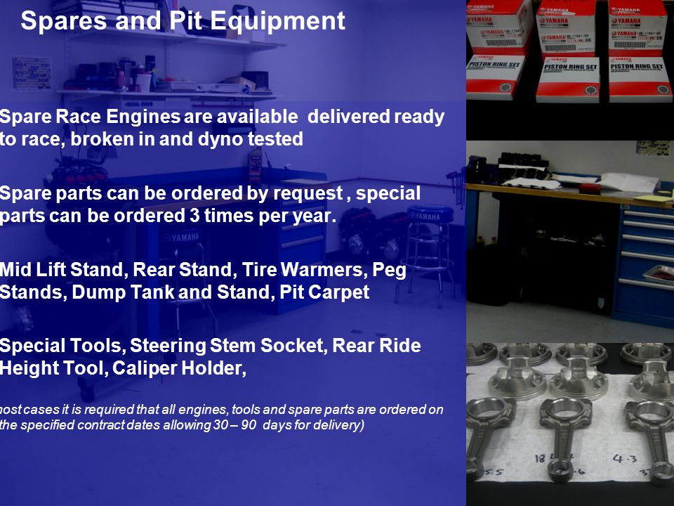 Spares and Pit Equipment