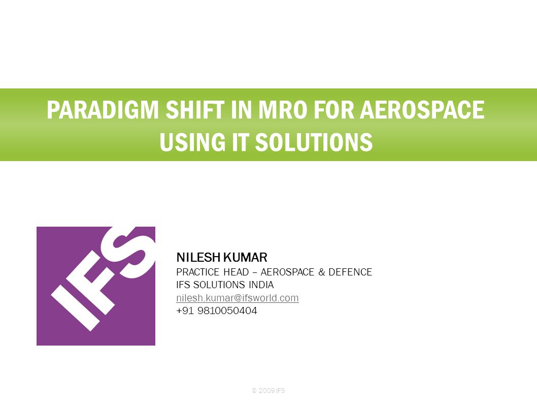 Paradigm shift in mro for aerospace using it solutions