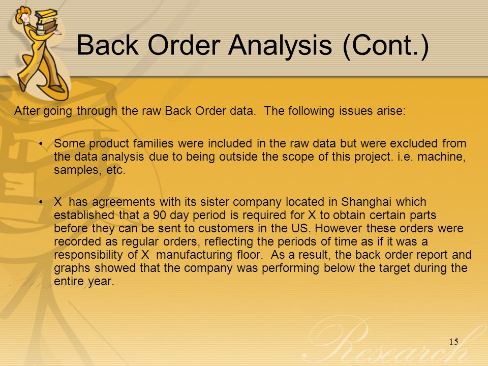 Back Order Analysis (Cont.)