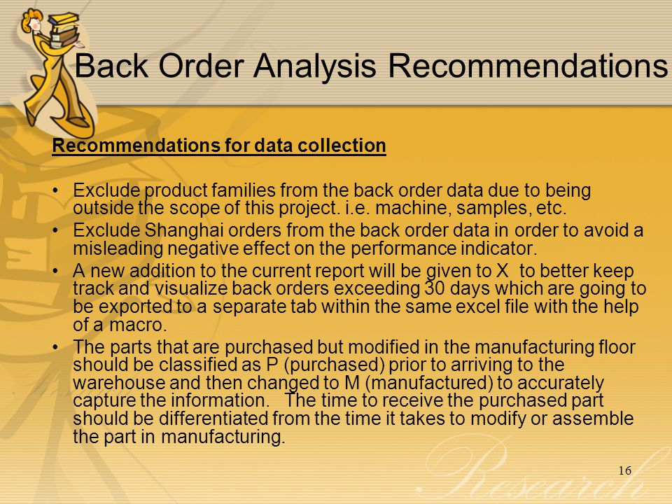 Back Order Analysis Recommendations