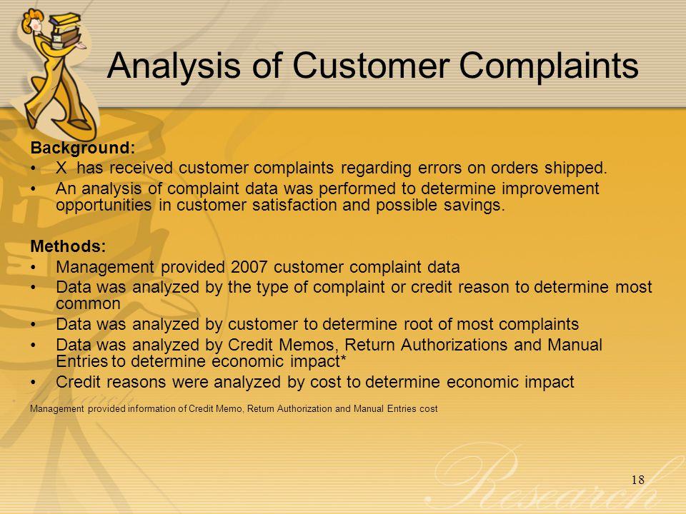 Analysis of Customer Complaints