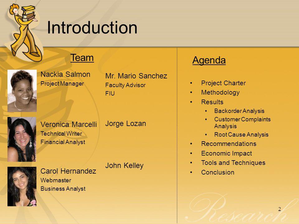Introduction Team Agenda Nackia Salmon Mr. Mario Sanchez
