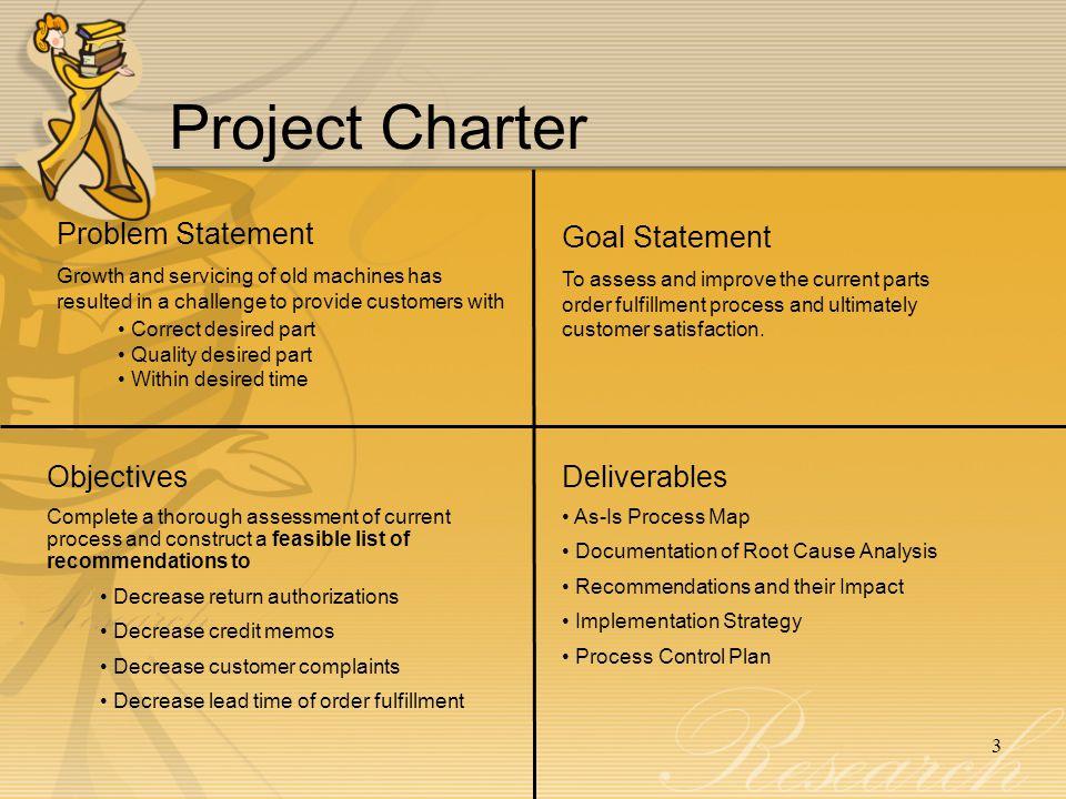 Project Charter Problem Statement Goal Statement Objectives