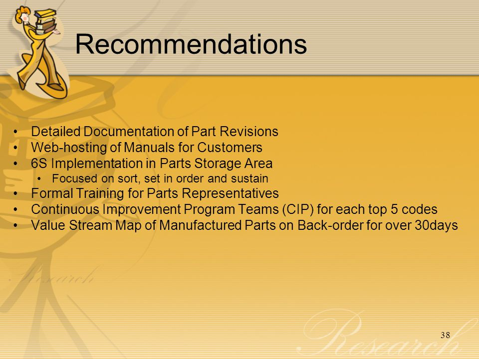 Recommendations Detailed Documentation of Part Revisions