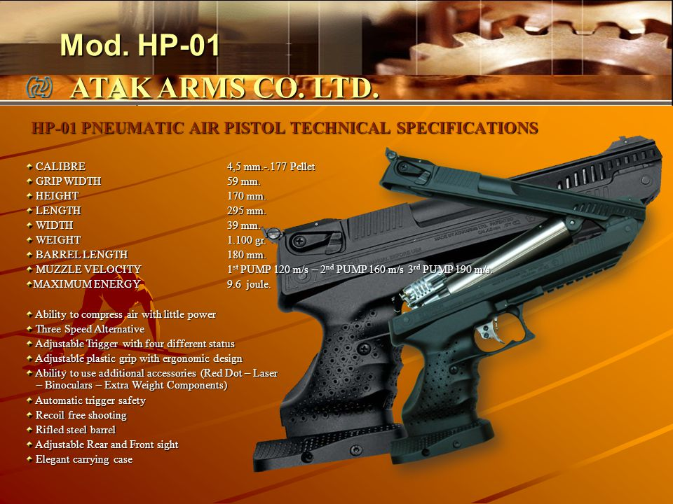 HP-01 PNEUMATIC AIR PISTOL TECHNICAL SPECIFICATIONS