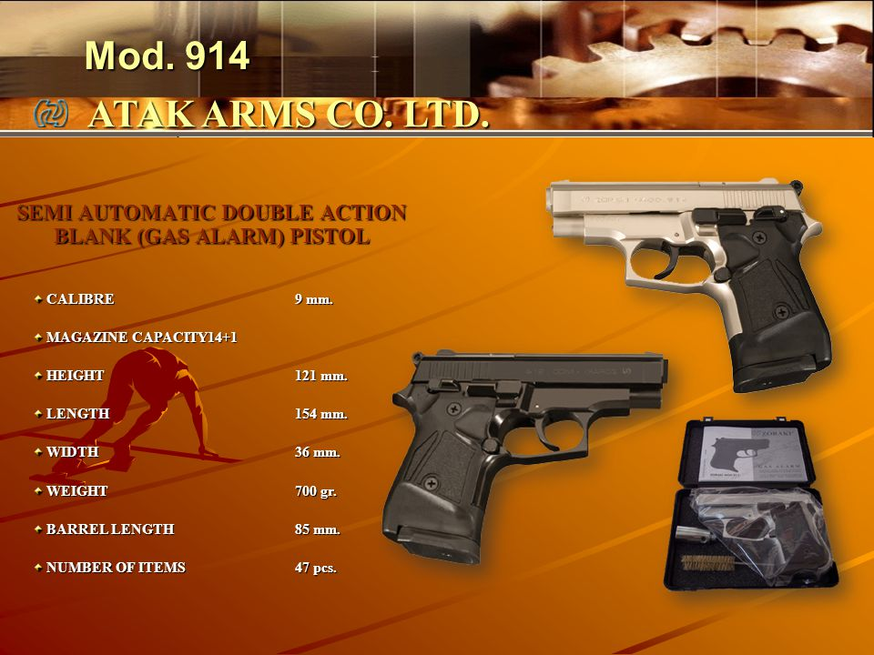 SEMI AUTOMATIC DOUBLE ACTION BLANK (GAS ALARM) PISTOL