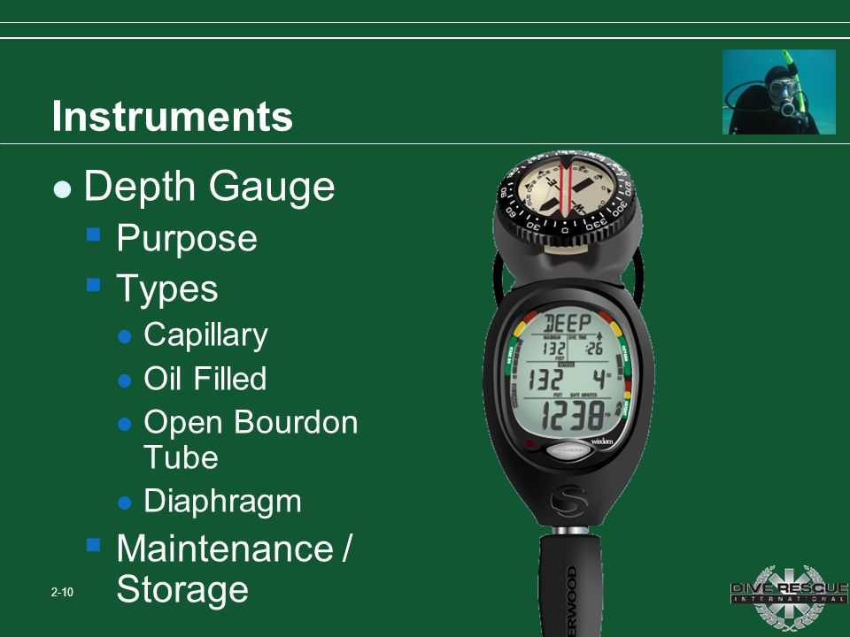 Instruments Depth Gauge Purpose Types Maintenance / Storage Capillary